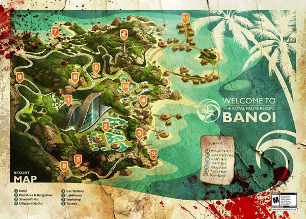 Dead Island Map resort map islas videojuegos borntoplay