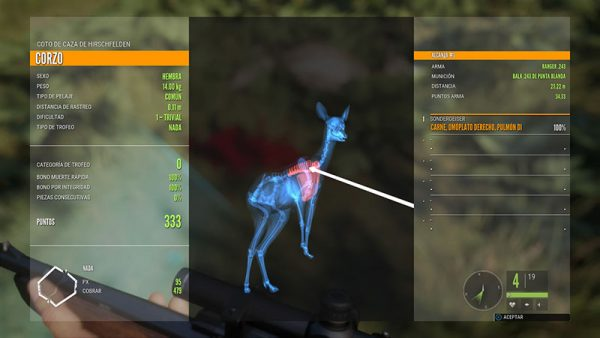 La pantalla de caza nos ofrece valiosa información sobre nuestro blanco